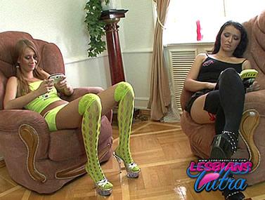 Stocking Clad Lesbians Teasing