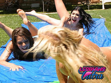 Lesbian Pornstars Playing Outside